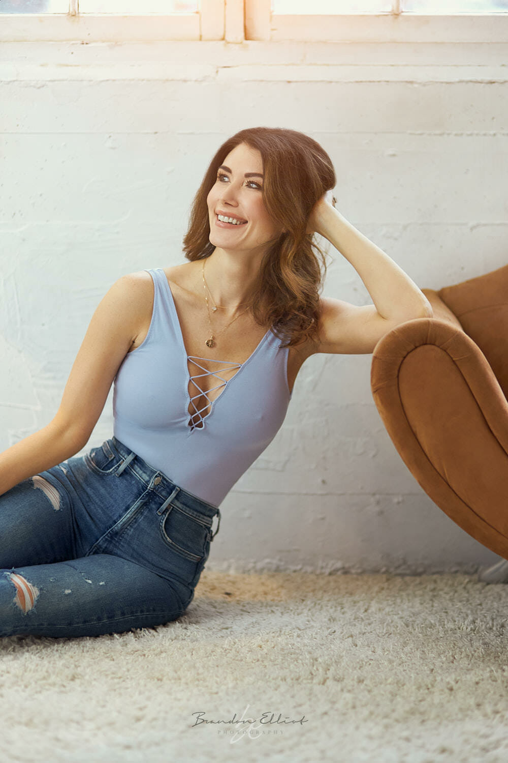 Jewel staite smiling off camera