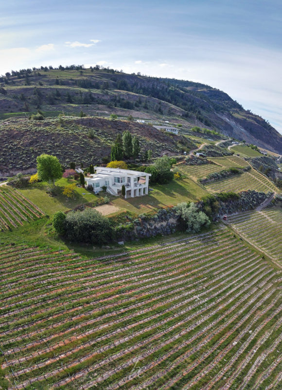 Aerial kelowna photographer captures OAK estate winery with lake views