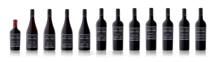 Pentage red wine bottles photographed by penticton photographer
