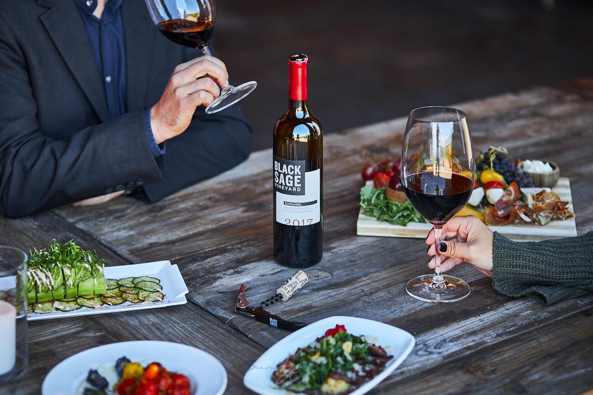 Lifestyle winery photograph of Black Sage Vineyard by Kelowna Photographer of Wine